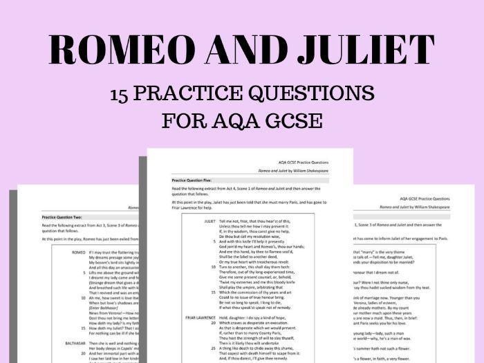 Romeo and Juliet Practice Questions for AQA GCSE