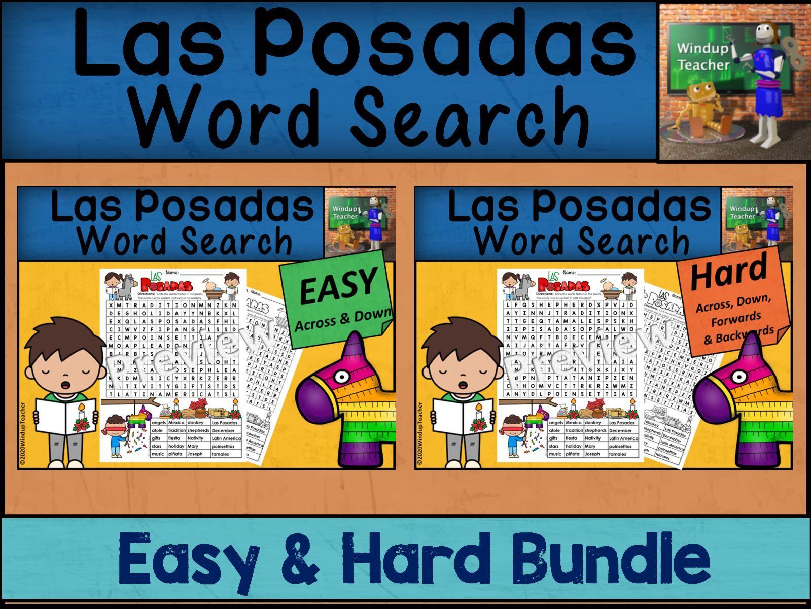 Las Posadas Word Search BUNDLE - Easy and Hard Bundle