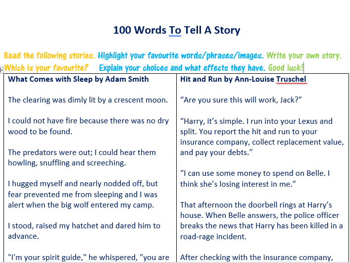 100 Words to Tell a Story: Worksheet for Independent Work