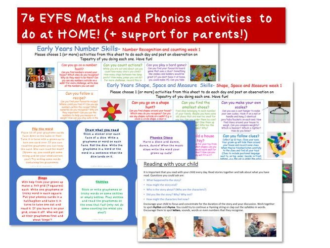 EYFS maths and phonics home learning bundle