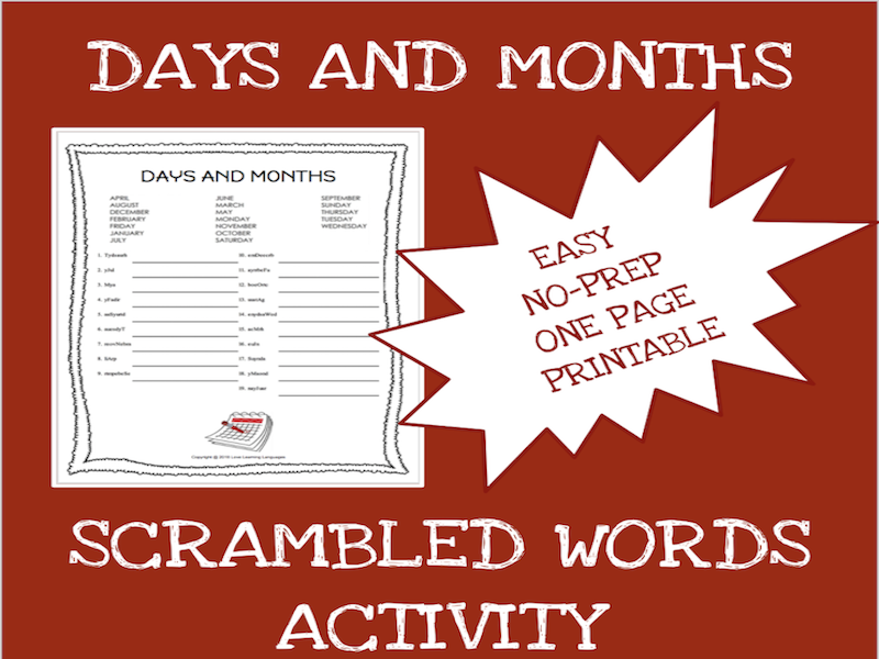 English months and days scrambled words worksheet - ELA - ESL - ELL