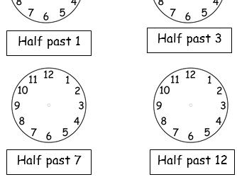 Half Past Worksheets Bundle - 8 Worksheets