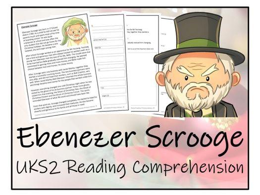UKS2 Literacy - Ebenezer Scrooge Reading Comprehension Activity