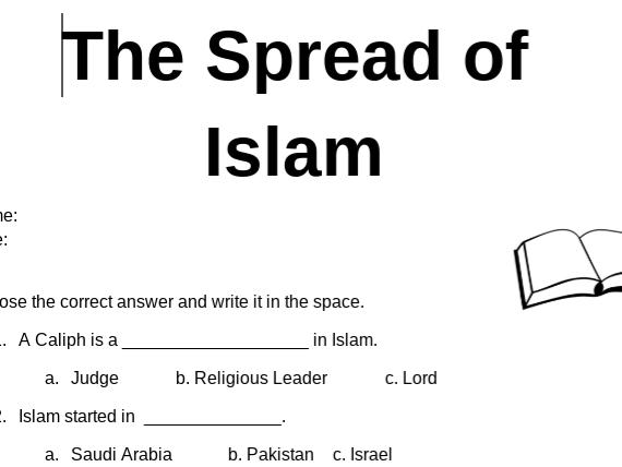 Free Spread of Islam Worksheet