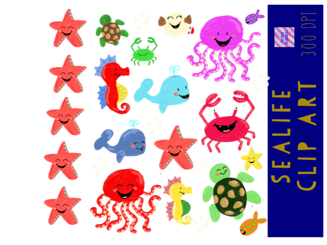 Cute Sea Life Ocean Animal Clip Art