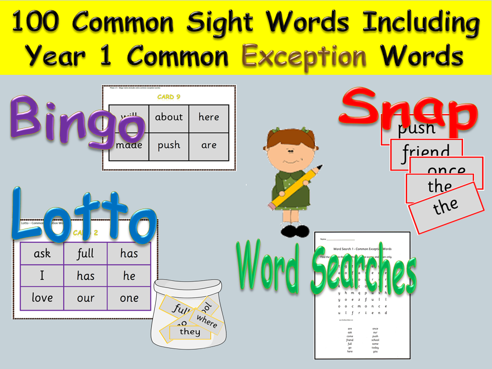 Sight Words (100 ) and Year 1 Common Exception Words - Bingo, Lotto, Snap, Word Searches