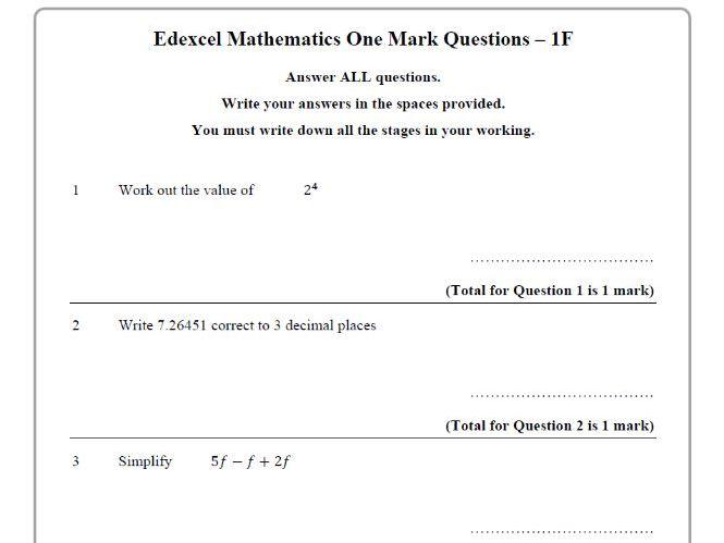 Edexcel GCSE Maths 9-1 Starter Questions