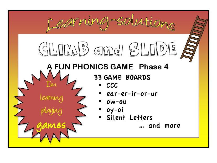 CLIMB and SLIDE BOARD GAMES - Phonics - Phase 4 - 34 games