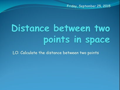 Distance between two points in the space