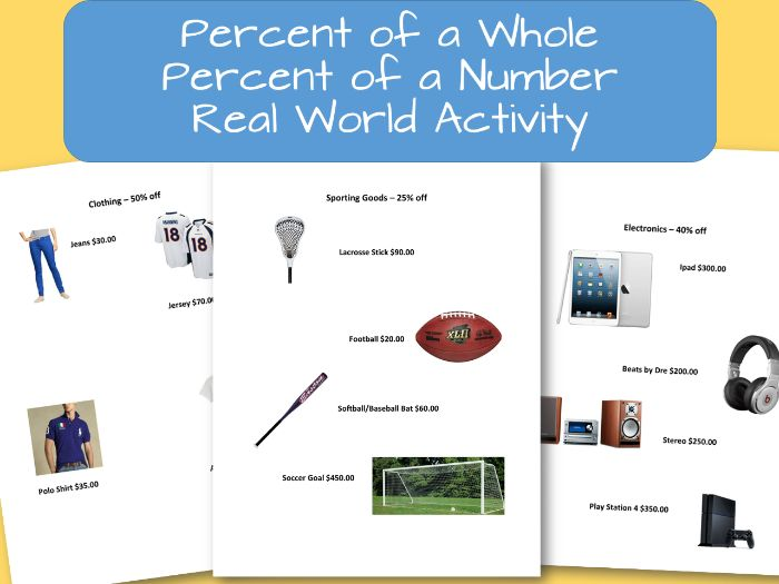 Percent of a Whole, Percent of a Number Real World Application Activity