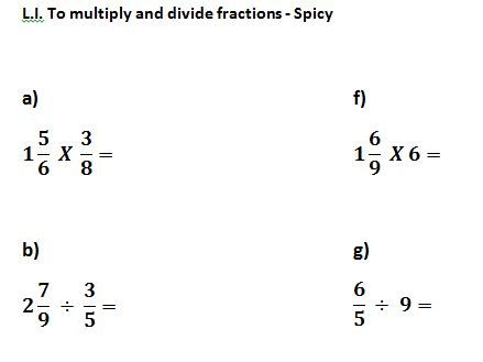 Multiplying and dividing fractions by fractions and whole numbers - 3 levels of differentiation