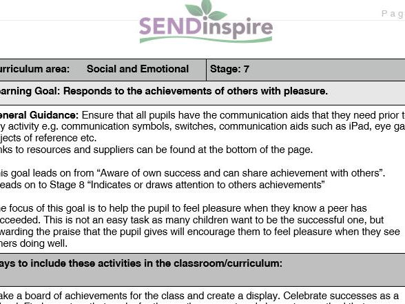 SEND Social and Emotional: responds with pleasure to others achievements
