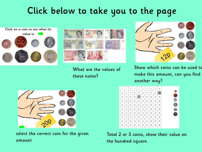 British Sterling coin and note recognition and value interactive resource