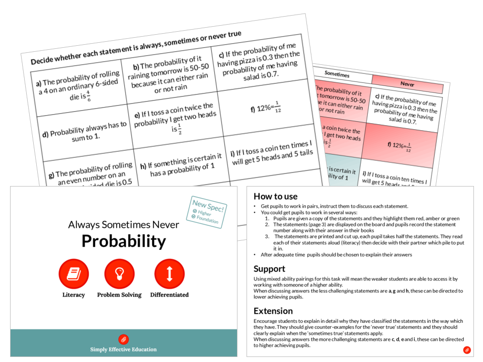Probability (Always, Sometimes, Never)