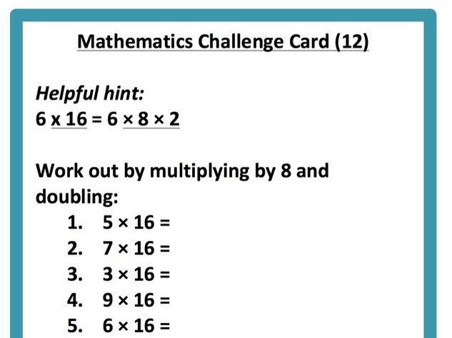 18 Maths Challenge Cards for Early Finishers (Year 4/5)