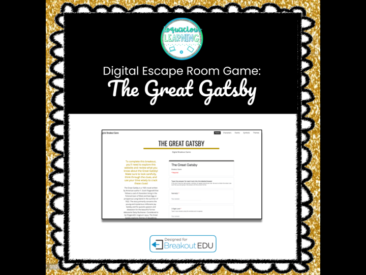 Digital The Great Gatsby Escape Room / Breakout Game