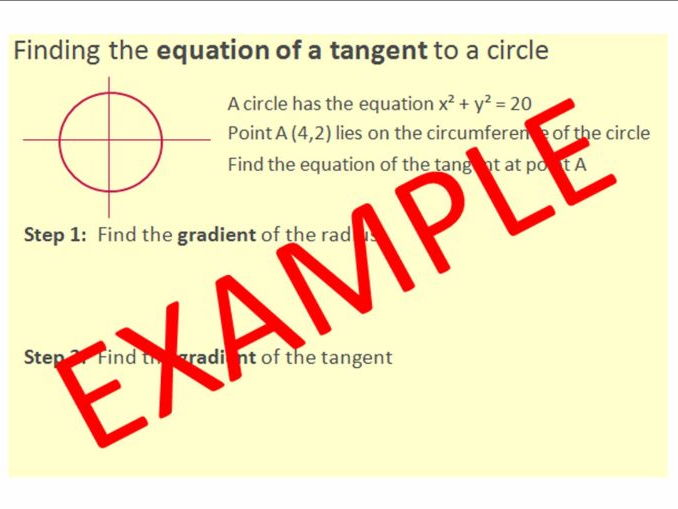 Finding the Equation of a Tangent to a Circle - GCSE Higher Tier (new 1-9 GCSE style) resource