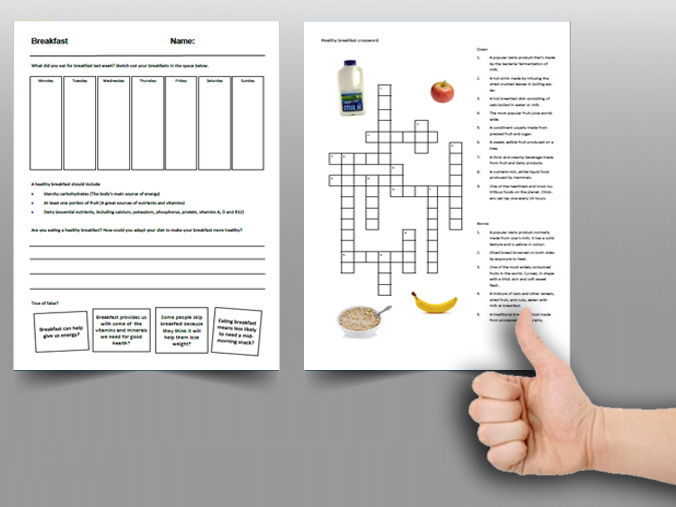 Food cover work / cover lesson - Breakfast - 1hr activity