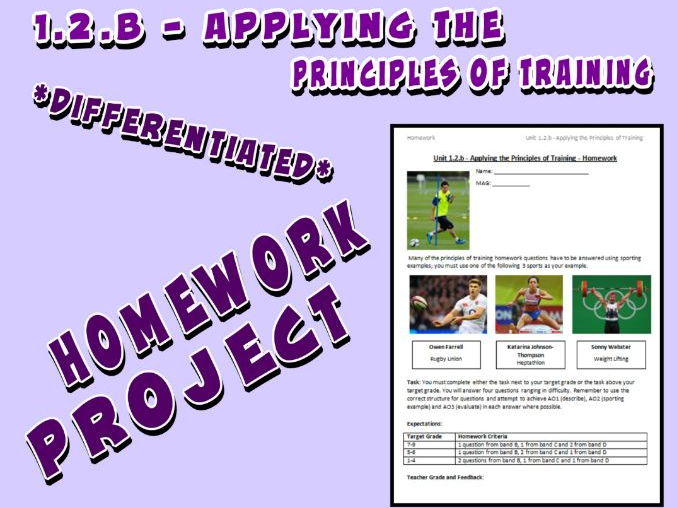 OCR GCSE PE 9-1 (2016) 1.2.b - Homework Project - Applying the Principles of Training