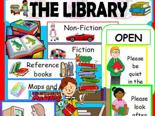 THE LIBRARY ROLE PLAY SET OF TEACHING RESOURCES EYFS KS1 LITERACY