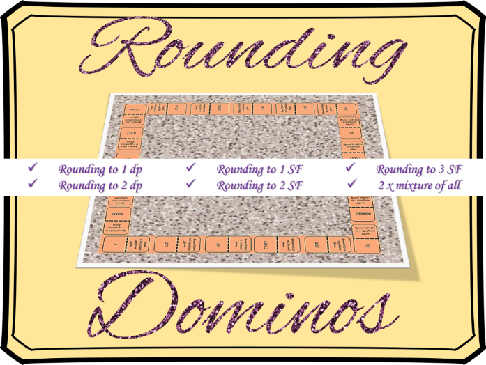 Rounding to decimal places and significant figures dominos activity (7 sets)