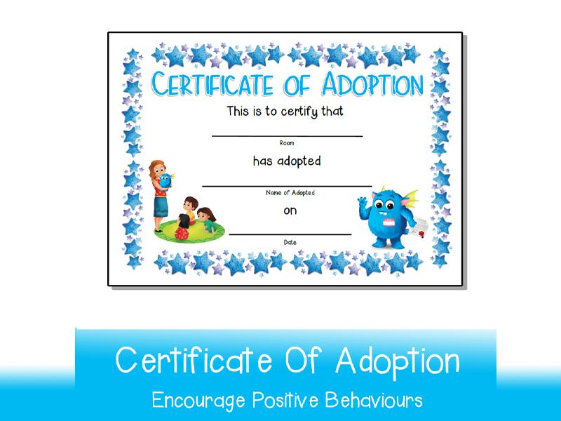 Your Teacher's Pet Creature Certificate Of Adoption