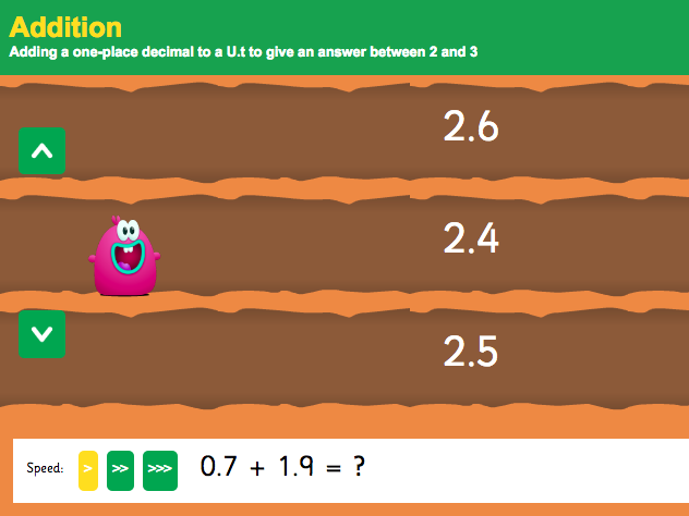Addition with Decimals: Tenths - Interactive Game 3 - KS2 Number