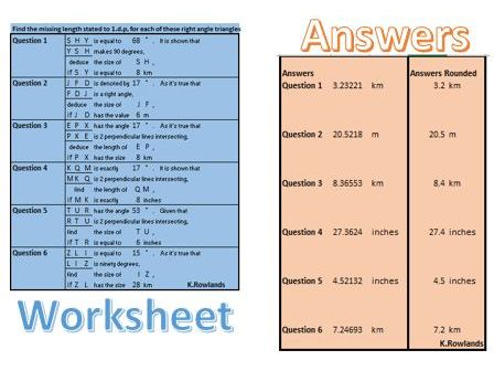 Trigonometry Worksheet Generator given ONE SIDE AND ONE ANGLE, infinite worksheets