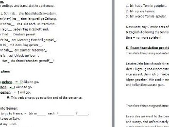 GCSE German tenses practice and translation worksheet