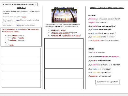 Spanish AQA GCSE speaking exam revision (Foundation - CARD 2)