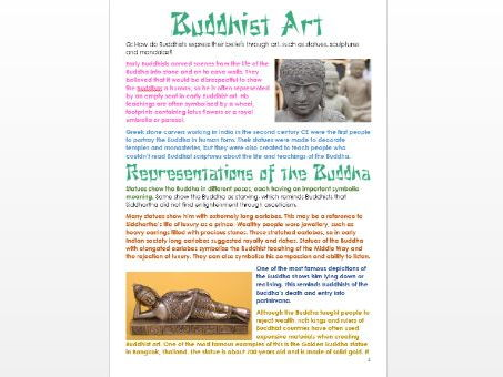 Buddhism: Buddhist Art: Differentiated Information and Activity Sheets