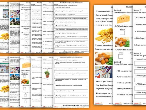 Where Food Comes From KS1 and KS2 Worksheet