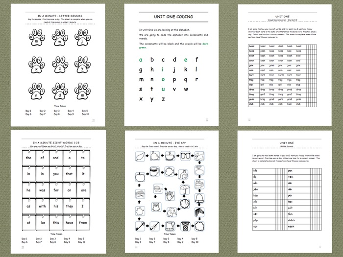 Phonics Intervention Workbook for 1-1 Support - Letter Sounds / Same and Different
