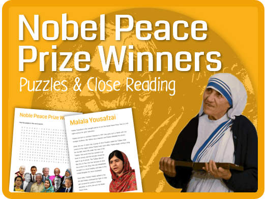 Nobel Peace Prize Winners (Puzzles, reading & questions)