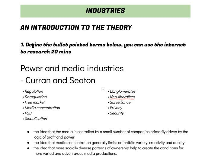 WJEC Media A Level Industries Industry worksheets Hesmondhalgh, Curran & Seaton, Livingstone & Lunt