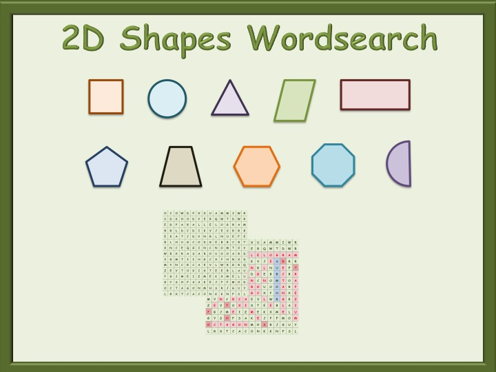 functional skills - 2d shapes - wordsearch puzzle