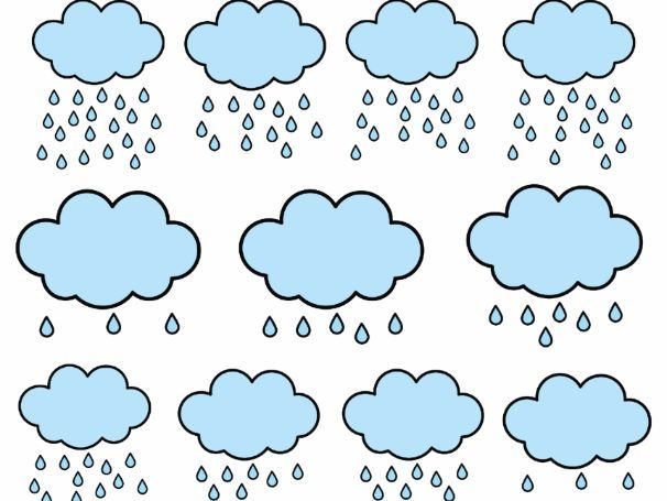 FREE Counting Pictures: Counting Rain Drops Clipart 0 to 20