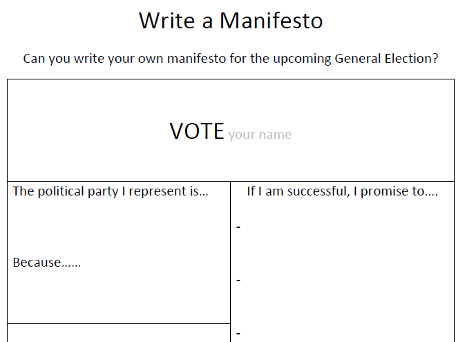 Write a Manifesto - Election, Government, Politics