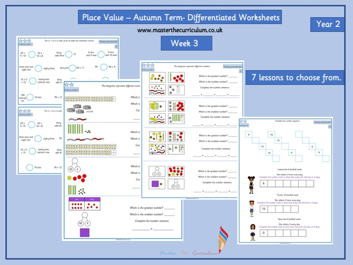 Year 2- Autumn Term- Block 1- Week 3- Place Value Differentiated Worksheets