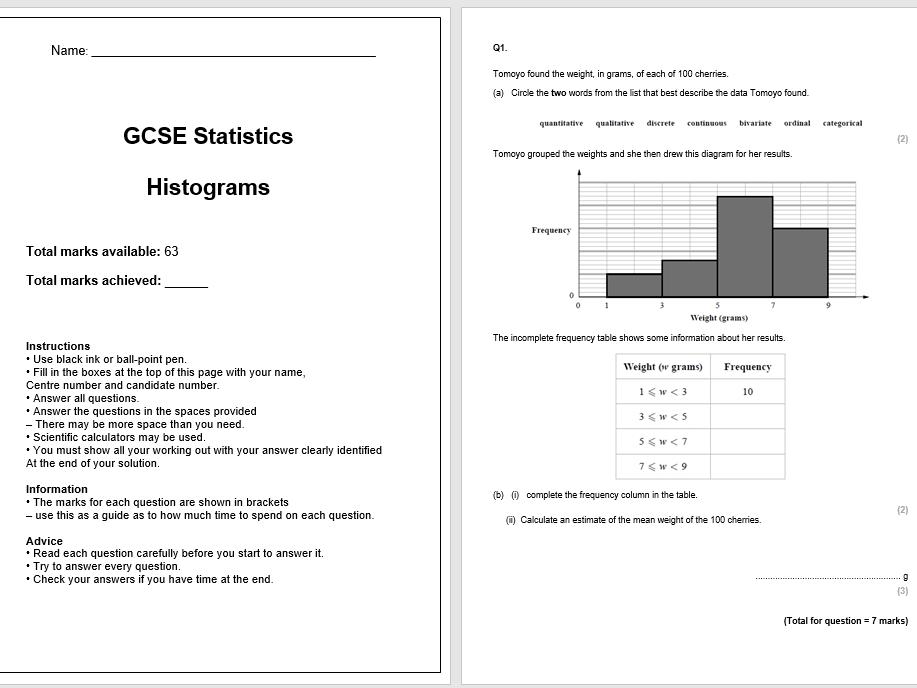 Histograms Exam Questions (GCSE Statistics)