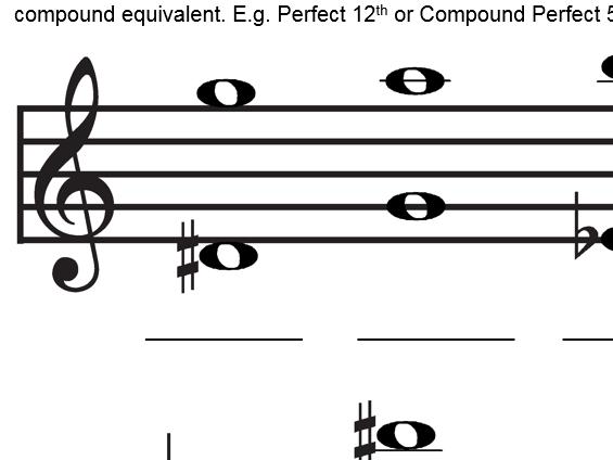 Musical Intervals 6 - Compound Intervals - worksheet