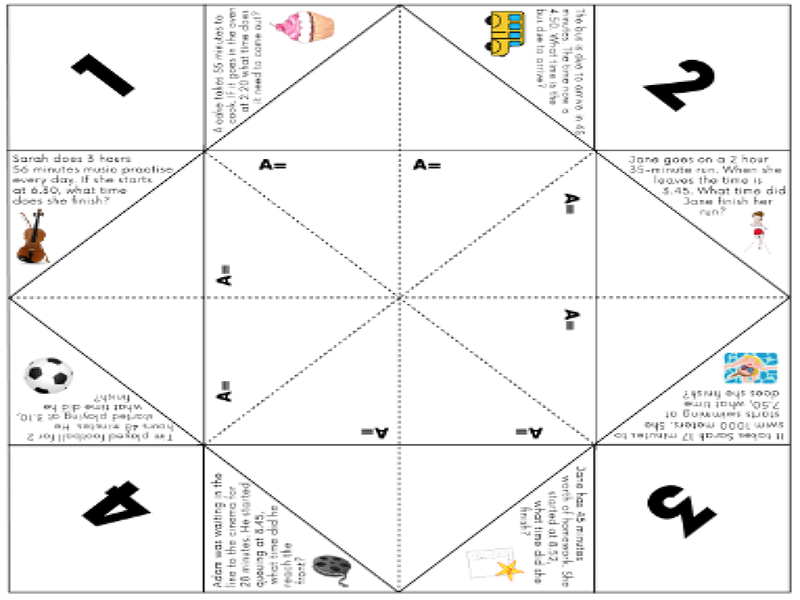 Elapsed Time Word Problems Cootie Catcher Activity