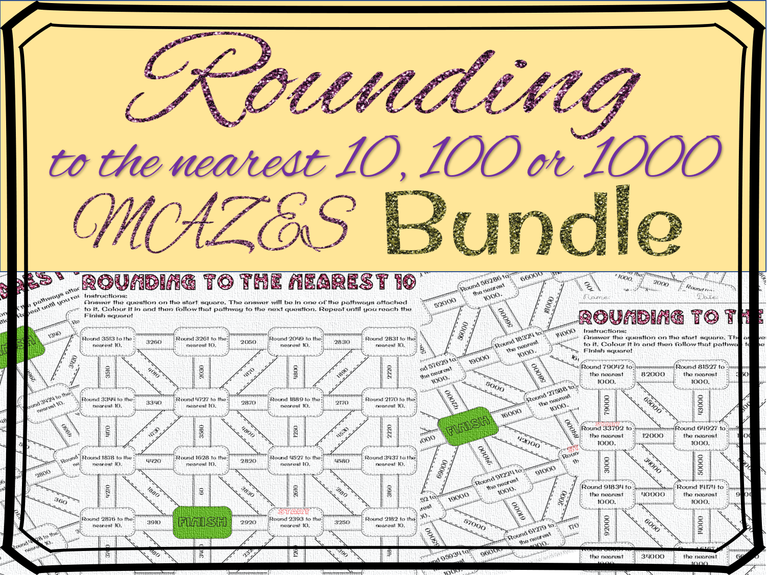 Rounding to the nearest 10, 100, 1000 maze bundle