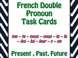 French Pronouns Task Cards Version 2 - Pronoms Français - Cartes à Tâches