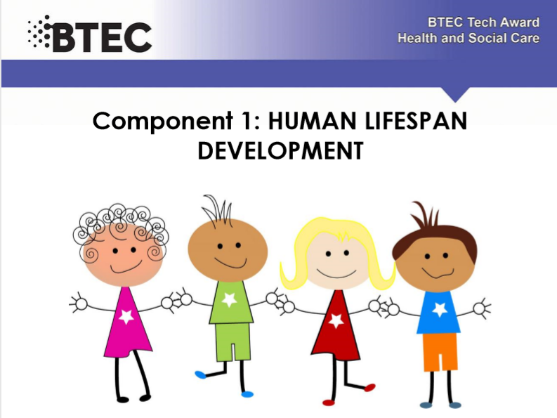 Human lifespan development - BTEC Health and Social care. Work booklet .  Part of a series of 6.