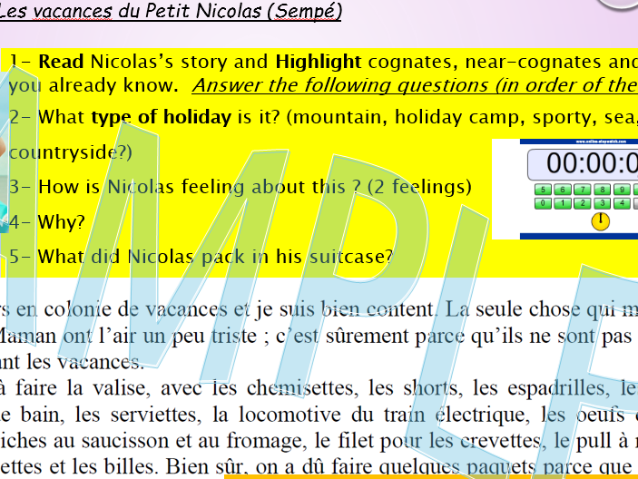 Les vacances du petit Nicolas- Sempé- Reading comprehensions Higher