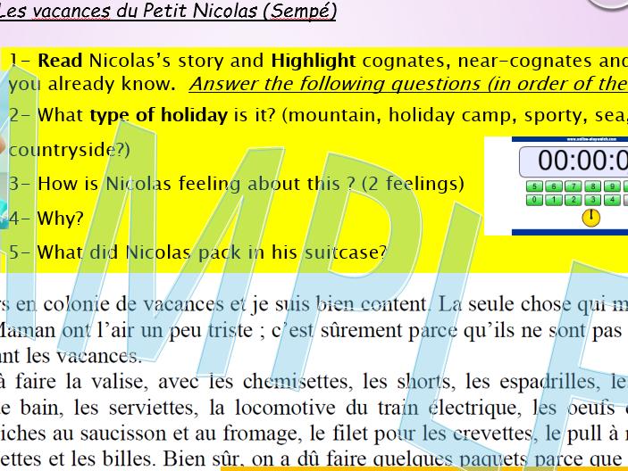 Les vacances du petit Nicolas- Sempé- Reading comprehensions Higher