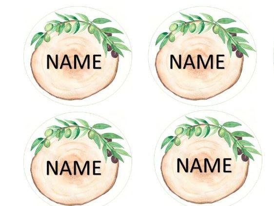 Natural Classroom Log slice Peg Labels