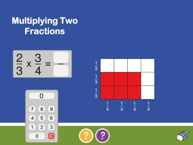 Multiplying Fractions with Arrays:  Worksheets &  IWB Teaching Resource