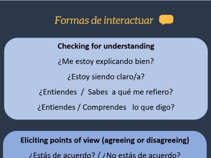 Spanish A Level/GCSE: interaction / interactuar questions